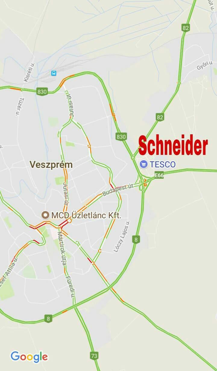 Schneider Veszprém Tesco térkép